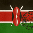 Stock Photo: Welcome to Kenya flag with passport stamp