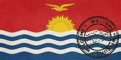 Welcome to Kiribati flag with passport stamp — Stock Photo