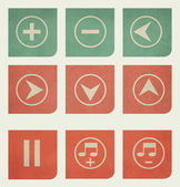 Flat design music buttons with grunge effect — Stock Photo