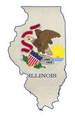 Grunge state of Illinois flag map — Stock Photo