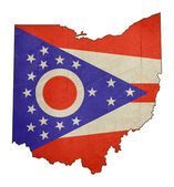 Grunge state of Ohio flag map — Stock Photo