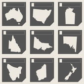 Set of Australia map buttons — Stock Photo