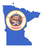 State of Minnesota flag map — Stock Photo
