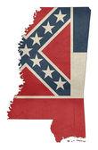 Grunge Mississippi flag map — Stock Photo