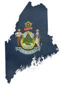Grunge state of Maine flag map — Stock Photo