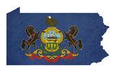 グランジ ペンシルベニア州の州旗地図 — ストック写真