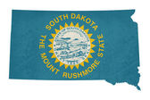 Grunge state of South Dakota flag map — Stock Photo