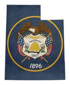 Grunge state of Utah flag map — Stock Photo