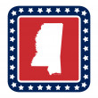 Mississippi state button — Stock Photo