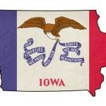 State of Iowa grunge flag map — Stock Photo