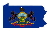 State of Pennsylvania flag map — Stock Photo