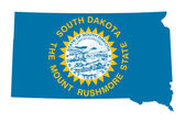 State of South Dakota flag map — Stock Photo