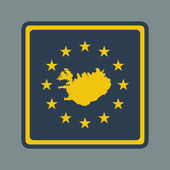 Iceland European flag button — Stock Photo