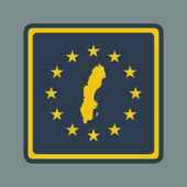 Sweden European flag button — Stock Photo