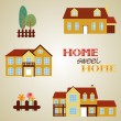 Set of three houses - Stock Vector