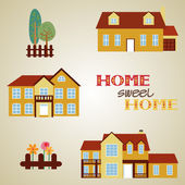 Set of three houses — Stock Vector