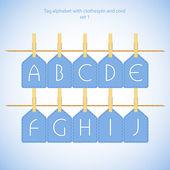 青いアルファベット セット vol.1 — ストックベクタ