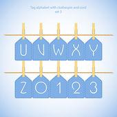 Blue alphabet set vol.3 — Stock Vector