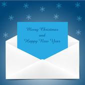 Christmas envelope with greeting card — Stock Vector