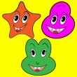 Three happy faces - Stock Vector