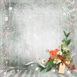 Grey textured background vintage with flowers. — Stock Photo #11973836