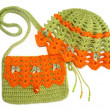 Stock Photo: Knitted set for girls - delicate hat and bag.