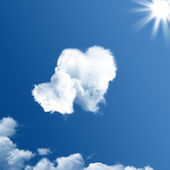 Two heart-shaped clouds — Stock Photo
