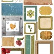 A set of scrap elements, picture frames, photo edges and paper. — Foto Stock