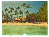 Rest on the beach. The postcard, in a stylized retro style. Isol — Stock Photo