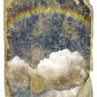 Stock Photo: Retro design - the sky, clouds, rainbow.