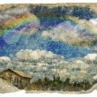 Stock Photo: Retro design - the sky, clouds, rainbow, house.