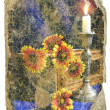 Retro design Still-life - flowers and a candle — Stok fotoğraf