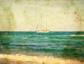 Yacht at sea. Old postcard — Stock Photo