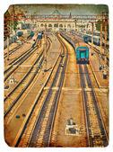 Old postcard. Old Railway Station. — Stock Photo