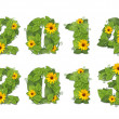 New year 2014, 2013. Date lined green leaves with drops of dew a — Stock Photo