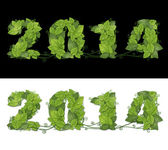 New year 2014. Date lined green leaves with drops of dew. — Stock Photo