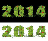 New year 2014. Date lined green leaves with drops of dew and red — Stock Photo