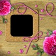 Vintage photo frames and roses — Stock Photo #6054055