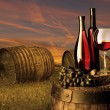 Still life with white wine and old barrel — Stockfoto