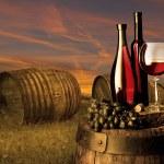 natureza morta com vinho branco e velho barril — Foto Stock