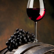 Still life with red wine and old barrel — Stock Photo #2962470