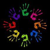 Huellas de manos pintadas — Foto de Stock