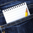 Notebook in jeans pocket — Stock Photo #31702599