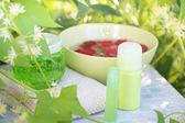 Set for spa in summer garden — Stock Photo