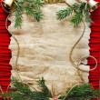 Stock Photo: Old paper bordering with christmas decoration