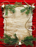 Old paper bordering with christmas decoration — Stock Photo