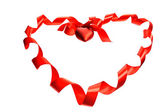 Red ribbon heart — Foto de Stock