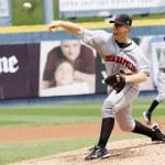 ������, ������: Indianapolis Indians pitcher Blaine Boyer throws
