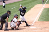 Scranton Wilkes Barre Yankees batter Doug Bernier swings — Stock Photo