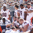 Stock Photo: Illinois Linemen rest between series, football